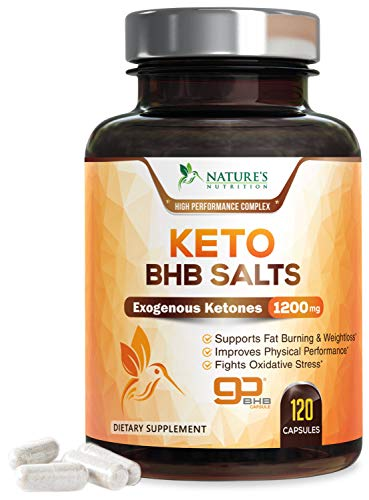 Keto BHB Exogenous Ketones Pills Max Potency goBHB Salts 1200mg - Made in USA- Keto Weight Loss Pills with Natural Caffeine, Magnesium Beta, Hydroxybutyrate, Calcium, Ketone Supplement - 120 Capsules