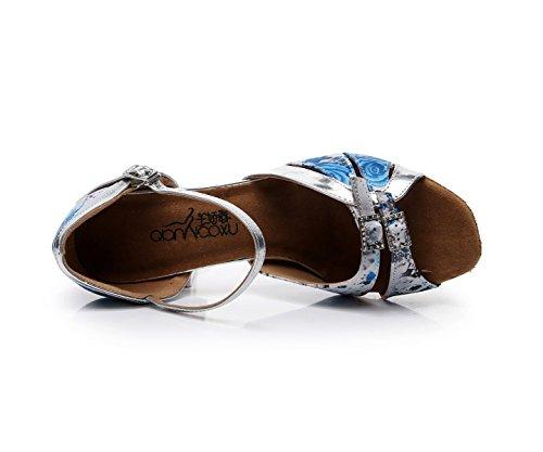 Tango Chacha Satin Jazz Ballroom Salsa Samba Latin De 5cm Para Tacones Blue EU33 Baile Modern Floral Our34 UK3 Zapatos heeled7 JSHOE Altos Sandalias Shoes Mujer qvP6C