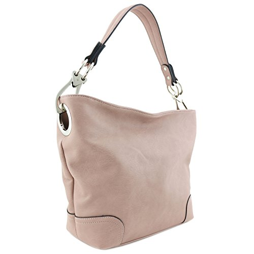 - Hobo Shoulder Bag with Big Snap Hook Hardware (Dusty Pink)