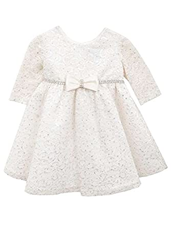 514a9e498 Amazon.com: Rare Editions Baby-Girls Ivory Glitter Lace Dress: Clothing