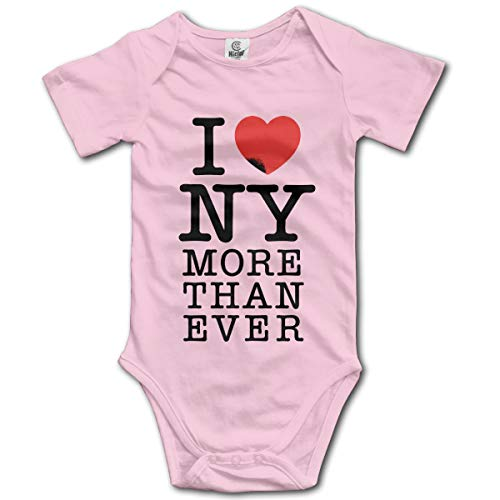 Baby Bodysuit I Love New York Infant Toddler Climbing Short-Sleeve Onesie Jumpsuit 12M Pink