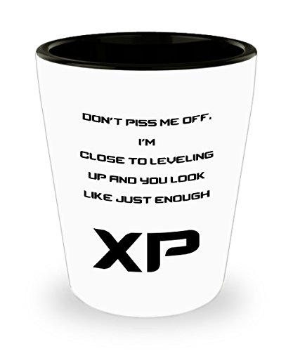 Funny Gamer Shot Glass- Don't Piss Me Off. I'm Close To Leveling Up And You Look Like Just Enough XP Shot Glass For Gamer (Don T Get Too Close To Me)
