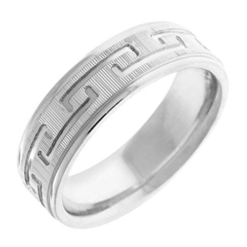 14K White Gold Designer Greek Key Men's Comfort Fit Wedding Band (7mm) (14k White Gold Key Ring)