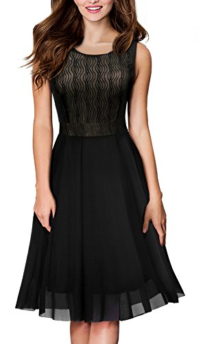 HOMEYEE Women's Vintage Sleeveless Crew Neck Chiffon Aline Cocktail Dress A031 (10, Black) ()