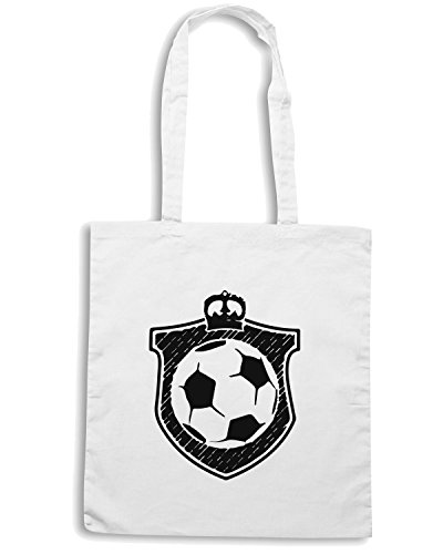 T-Shirtshock - Bolsa para la compra WC1040 Football Soccer King Maglietta Blanco