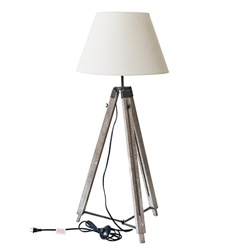DecentHome Tripod Floor Lamp Contemporary Design for Modern Living Rooms - Soft, Ambient Lighting, Tall Standing Adjustable Easel Floor Lamp for Bedroom, Family Room, or Office - Distressed Wood ()