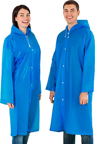 - Leger Sport Portable Rain Coat with Drawstring For Extreme Protection - Reusable Rain Ponchos for Adults with Hoods and Sleeves - Unisex Waterproof EVA Material Raincoat - Blue