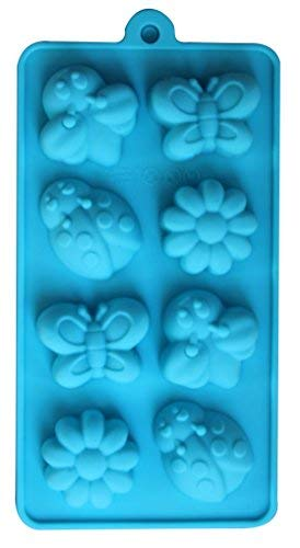 (8 Cavity) Silicone Molds Baking Chocolate Candy Molds Dessert or Soap Molds Ice Candle Making Molds (Blue, Garden)