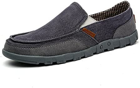 VILOCY Mens Casual Canvas Lightweight Boat Shoes Low Top Slip-On Loafer Flats