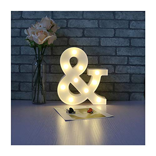 (CSKB Ampersand Symbol LED Marquee Letter Lights For Christams Alphabet Light Up Marquee Letters Sign For Wedding Birthday Party Battery Operated Night Light Lamp Home Bar Decoration &)