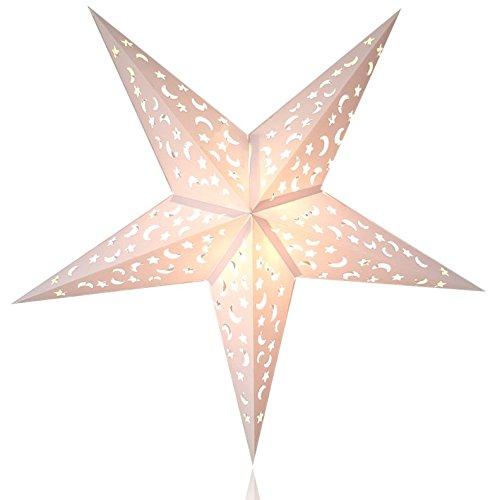 Happy Sales HSSL-FMWHTA Frozen Moon Paper Star Lantern White, 0.5