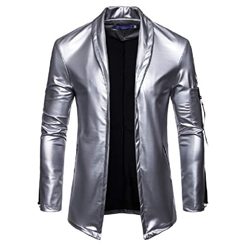 Classic Lapel Casual Pure Color Collar PU Silver Glossy Zip EnergyMen Suit Full dBp5Zwdq
