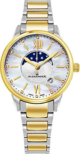 Alexander Monarch Vassilis Moon Phase Date White Mother of Pearl 35 MM Face Stainless Steel Yellow Gold Watch for Women - Swiss Quartz Elegant Two Tone Ladies Fashion Designer Dress -