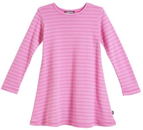 City Threads Little Girls' Cotton Long Sleeve Dress, Striped Medium Pink, 6
