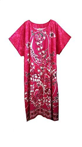 (44657 Femme coton tissé Vert avec imprimé Papillon/Floral Kaftan. Midi Taille unique, convient à 20
