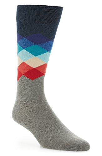 Happy Socks Unisex Faded Diamond Crew Socks (One Pair) (Navy/Grey, - Diamond Socks Men