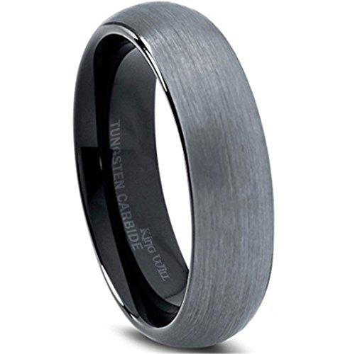 Band 5 Mm Brushed - King Will 6mm Black Domed Brushed Tungsten Carbide Ring Men Women Wedding Band Comfort Fit 9