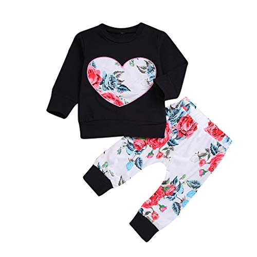 Qpika Toddler Kids Baby Fashion Girls Print Heart Flower Tops Rose Pants Clothes 2PCS Sets