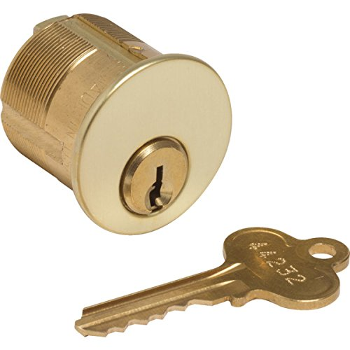 ITEM#471303 Mortise Cylinder - 5-Pin (Drilled 7) - Brass - Std Cam - Segal 9 - KD - 1-1/4