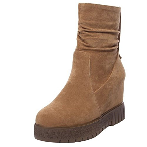 Women Simple High Ankle FANIMILA Brown Boots OBvqxCw