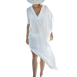 Bsubseach Mujer Kaftan Vestido de Playa Traje de baño Cubrir Bikini Camisola y Pareos