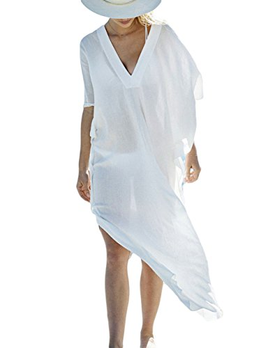 Bsubseach Women White V Neck Batwing Sleeve Turkish Beach Kaftan Swimsuit Bikini Cover up Swimwear Maxi Dress