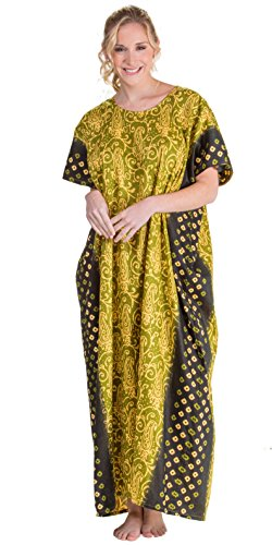 Caftans In 100% Cotton - One Size Lounger In Olive Maze (Olive/Pale Yellow, One Size Fits Most)