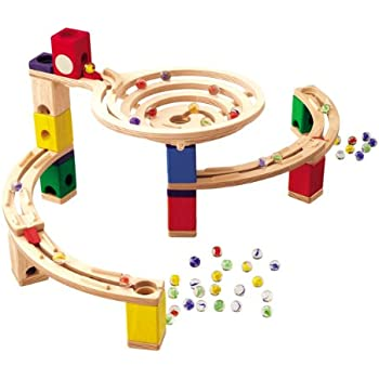 Amazon Com Hape Quadrilla Wooden Marble Run Construction