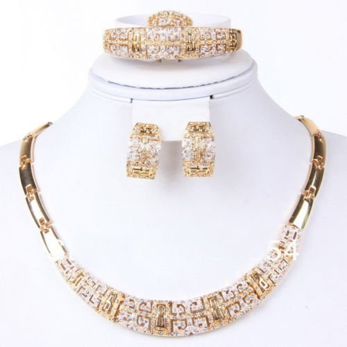 Fashion Jewelry Set Women 18k Gold Plated Necklace Bracelet Earrings Gift Set by Preciastore