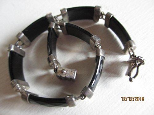 Vintage .925 Sterling Silver Onyx Signed HN Bracelet, .925 Signed HN (Vintage Bracelet Signed)