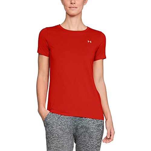 Under Armour Women's HeatGear Short Sleeve, Radio Red (890)/Metallic Silver, Large