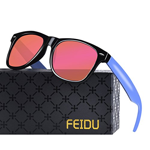 FEIDU Cocoons Fitovers Polarized Sunglasses Aviator (XL) Pink/Blue