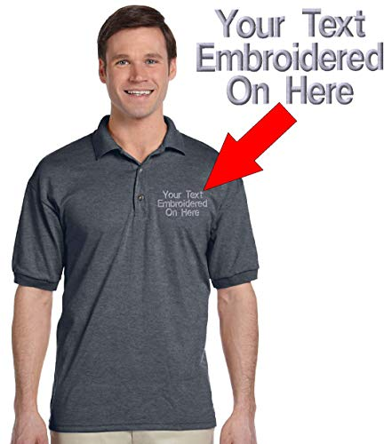 Custom Text Embroidered Jersey Polo, Dry Blend Polo Shirt (XL, Dark Heather)