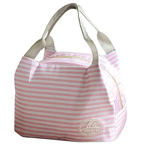 Hot sale!Todaies Insulated Cold Canvas Stripe Picnic Carry Case Thermal Portable Lunch Bag (23.515.530cm, Pink 2) Today Sale