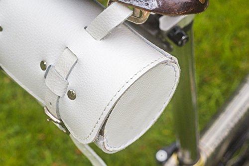 Classic Sattel/Lenker Rolle Tasche echt Leder weiß für Bike Werkzeuge