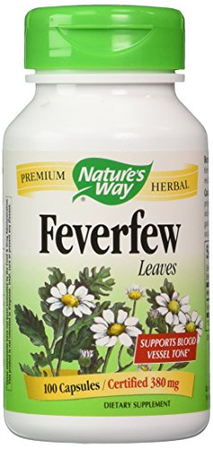 Feverfew Leaves 100 Capsule - Natures Way Feverfew Leaves (100 Capsules, 380mg) - (Pack of 2)