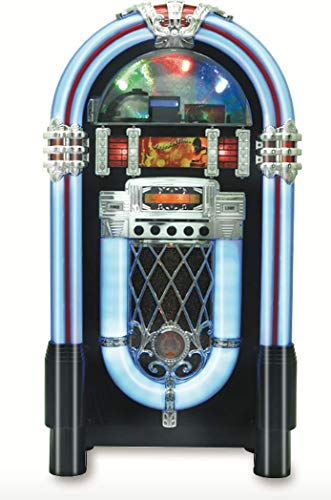 Retro Jukebox Wireless Bluetooth Color-Changing Wood Full-Size Sound System CD USB MP3 AUX Radio Juke Box Turntable