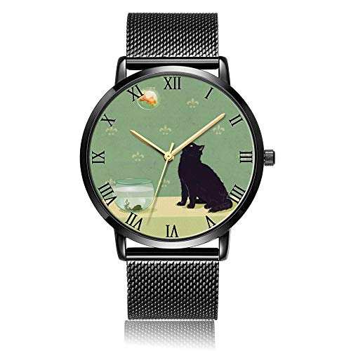 Customized Cat and Goldfish Wrist Watch, Black Steel Watch Band Black Dial Plate Fashionable Wrist Watch for Women or Men