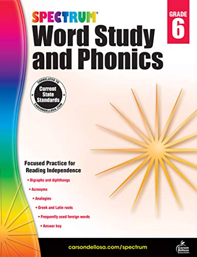 Carson-Dellosa Spectrum Word Study and Phonics Workbook, Grade 6 (Words That Start With Short U Vowel Sound)