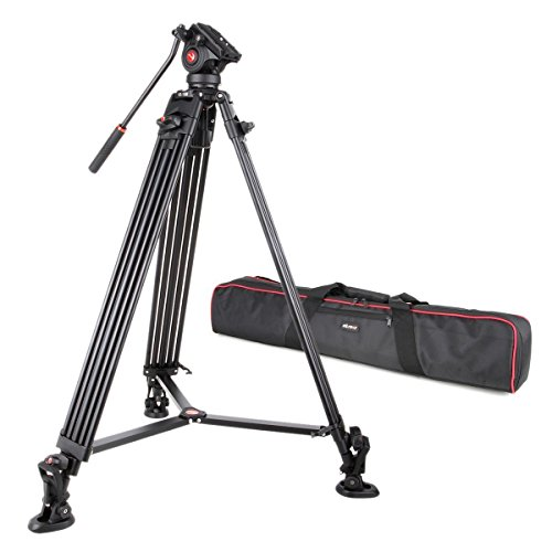 "VILTROX VX-18M Professional Heavy Duty Video Camcorder Tripod with Fluid Drag Head and quick release plate , 74"" inch ,Max loading 10KG, with Carrying bag,Horseshoe Shaped bracket"