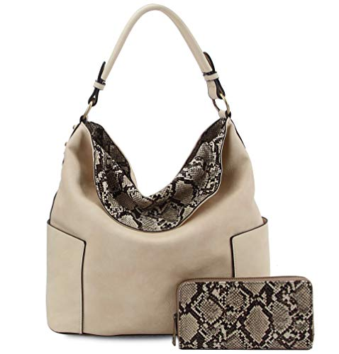 New! Le Miel Python Accent Hobo w/Side Pockets, Strap + Wallet (Beige)