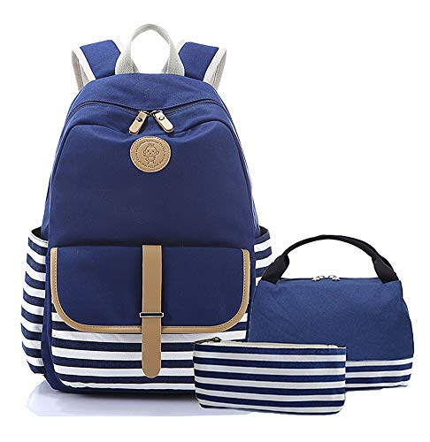 Lightweight Teens Backpack Set Canvas Girls School Bags, Bookbags 3 in 1 with Lunch ()