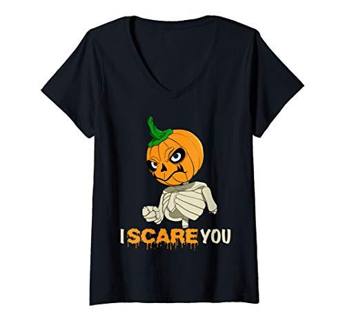 Halloween Make Skelett (Womens Spooky Halloween Costume - Skelett Pumpkin Head I Scare You V-Neck)