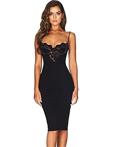 Lace Bandage Dress - Maketina Women Lace Bra Spaghetti Straps Midi Sexy Bandage Bodycon Dress Black S