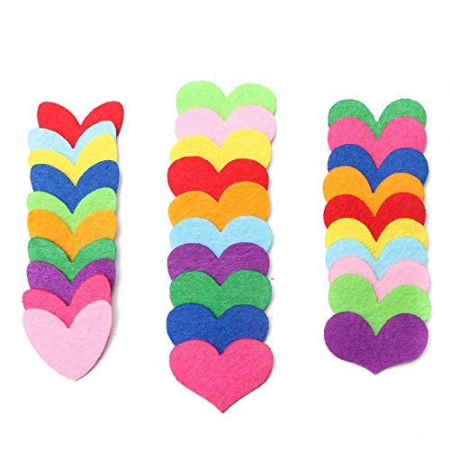 JETEHO 120 Pcs Mixed Color Felt Heart Laser Cutouts Patches Embellishments for Crafts Scrapbooking