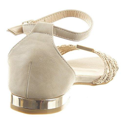 Sopily - Zapatillas de Moda Sandalias Caña baja mujer acabado costura pespunte metálico Líneas Talón Tacón ancho 1.5 CM - Beige
