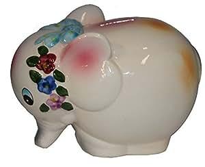 Porcelain Elephant Figurine Bank