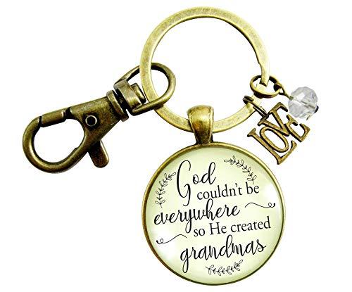 (Blessed Grandma Keychain God Couldn't Be Everywhere So He Created Grandmas Christian Family Vintage Style Key Chain Love Charm)