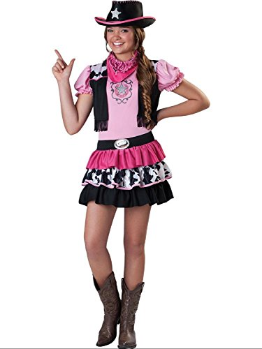 Girls Older Girls Teens Giddy Up Girl Cowgirl & Hat Fancy Dress Costume Outfit Wild West Western 4-14 yrs (4-6 -