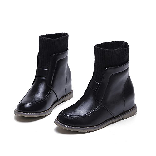 Allhqfashion Women's Soft Material Pull-on Round Closed Toe Low-Heels Low-top Boots Black Z42ztvmM